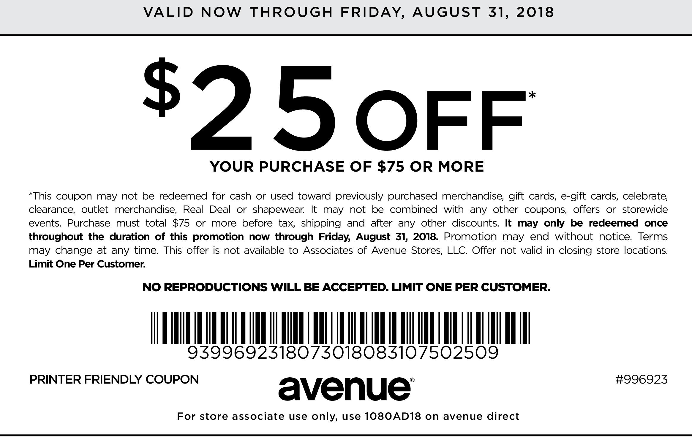 Avenue.com Promo Coupon $25 off $75 at Avenue