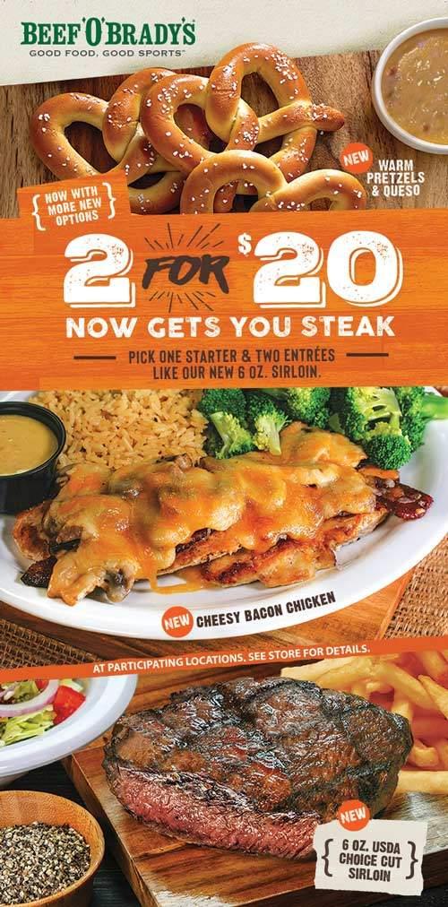 Beef OBradys Coupon November 2019 Appetizer + 2 steak entrees = $20 at Beef OBradys