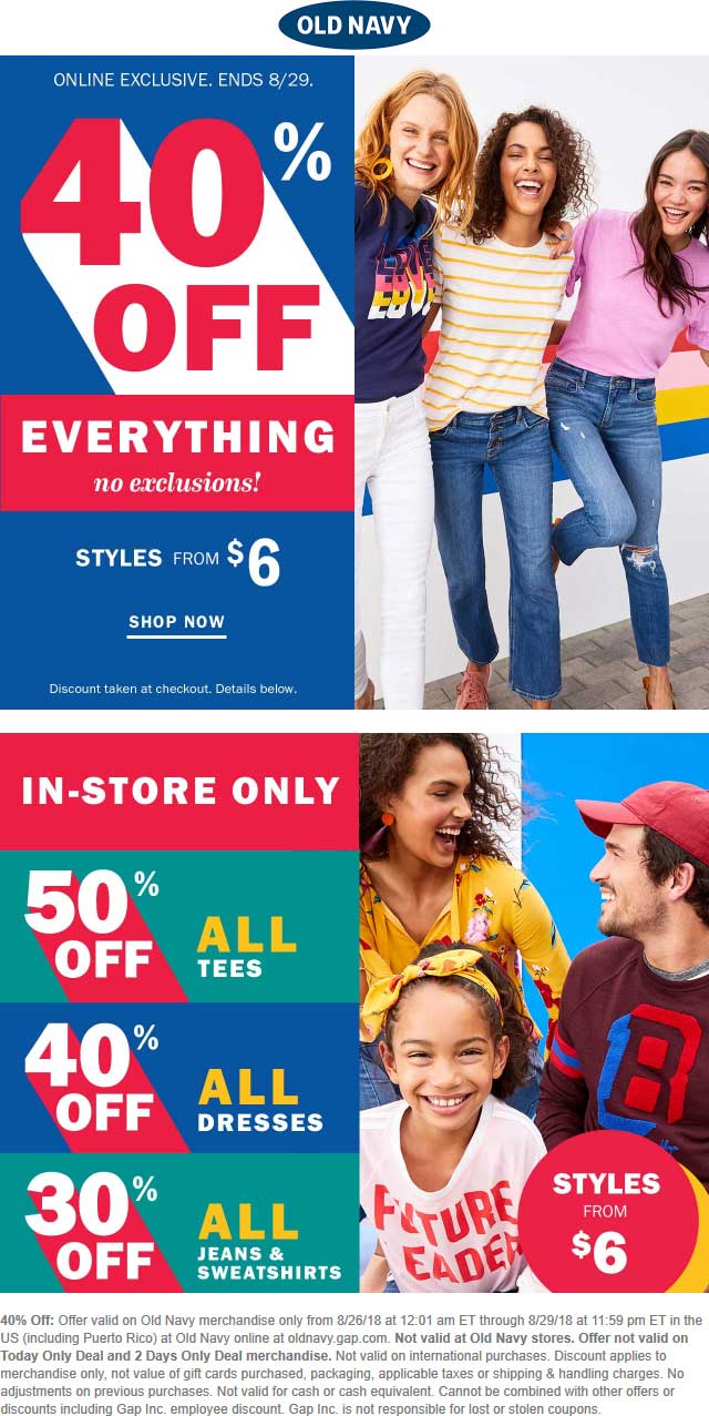 Old Navy Coupon November 2019 40% off everything online at Old Navy