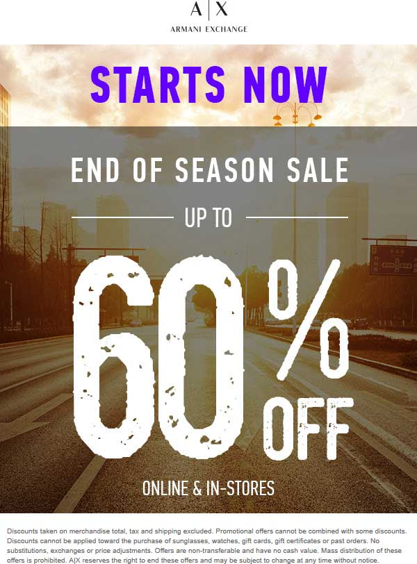 Armani Exchange Coupon November 2019 60% off sale going on at Armani Exchange, ditto online