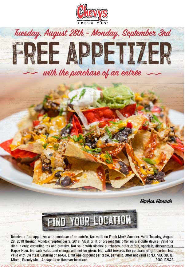 Chevys Coupon November 2019 Free appetizer with your entree at Chevys Fresh Mex
