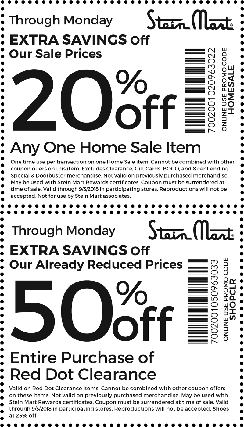 Stein Mart Coupon November 2019 Extra 50% off red dot clearance & more at Stein Mart, or online via promo code SHOPCLR