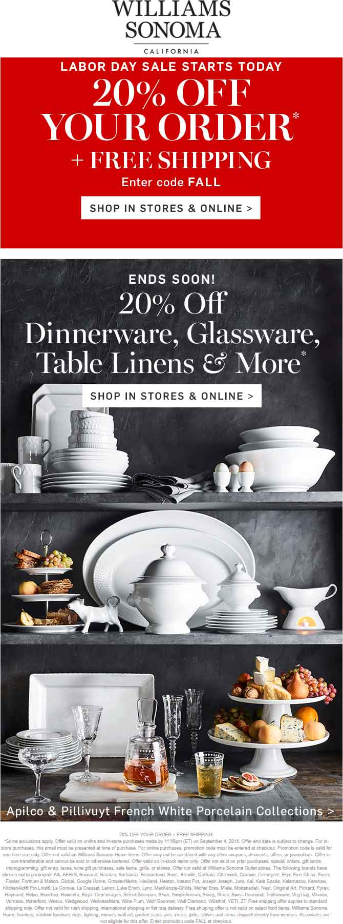 Williams Sonoma Coupon November 2019 20% off at Williams Sonoma, or online via promo code FALL