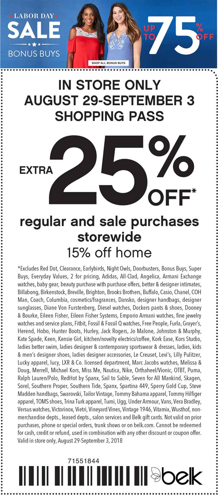 Belk Coupon May 2019 Extra 25% off at Belk, or online via promo code LABORDAY