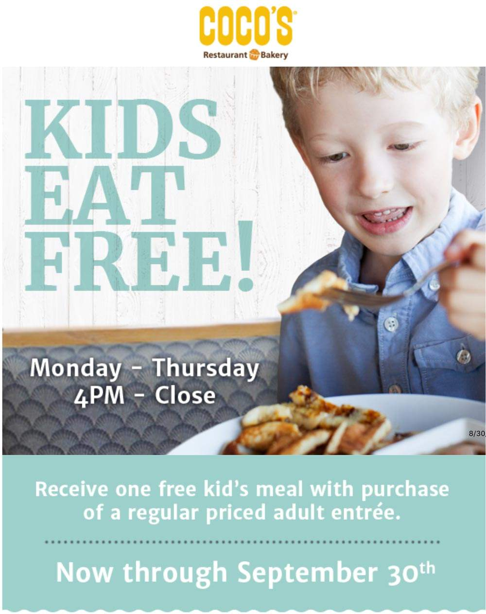 Cocos Coupon July 2019 Kids eat free with your entree at Cocos Bakery