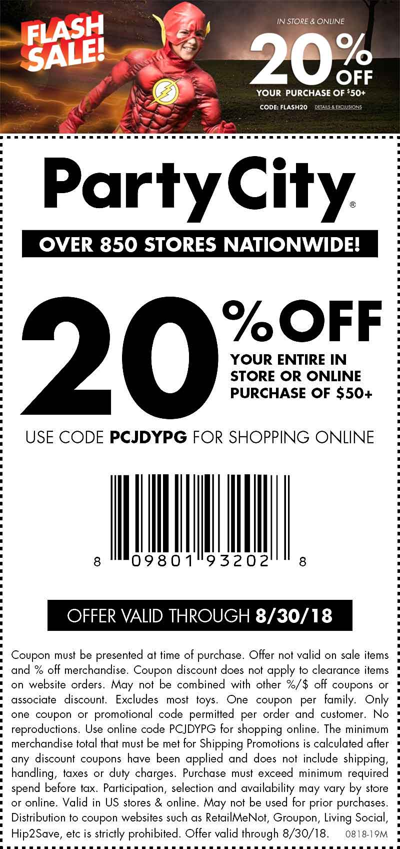 Party City Coupon May 2019 20% off $50 today at Party City, or online via promo code PCJDYPG