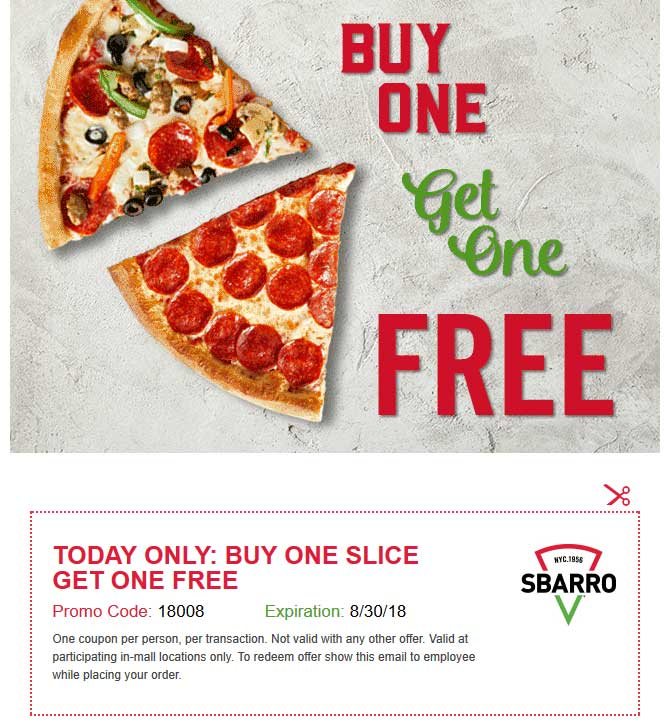 Sbarro Coupon July 2019 Second slice free today at Sbarro pizza