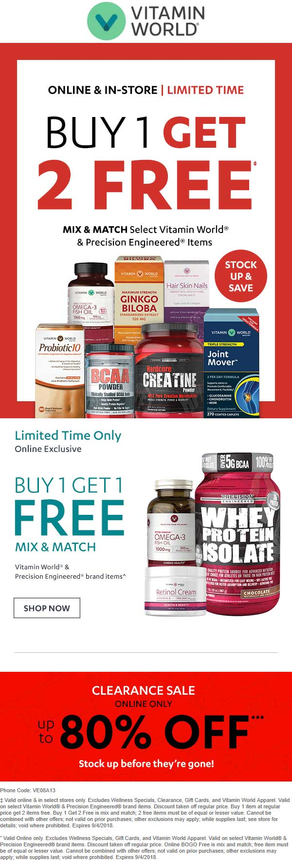 Vitamin World Coupon May 2019 3-for-1 on various store brand at Vitamin World, or online via promo code VE08A13