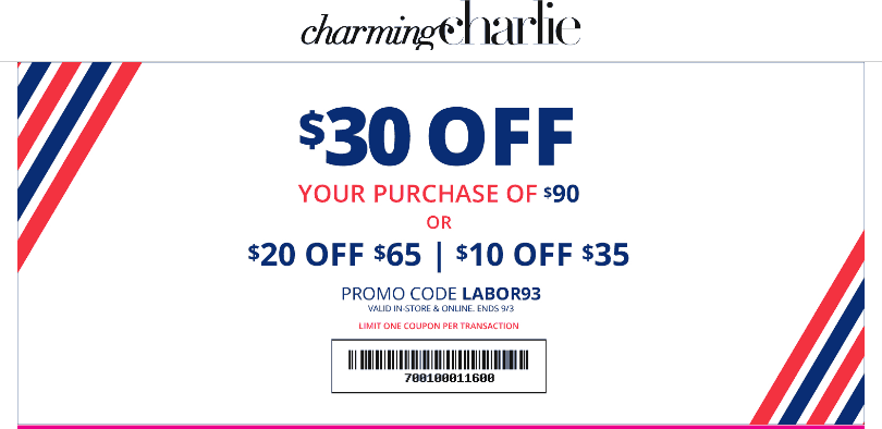 Charming Charlie Coupon November 2019 $10 off $35 & more at Charming Charlie, or online via promo code LABOR93