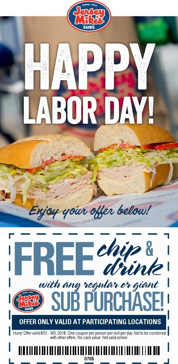 Jersey Mikes Coupon December 2018 Free chips & drink with your sub at Jersey Mikes