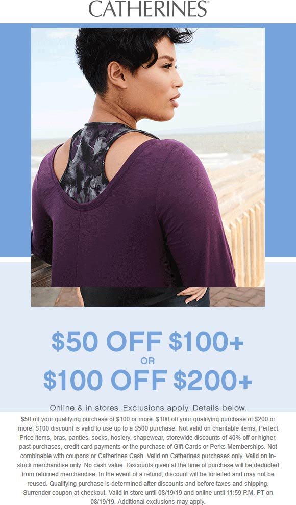 Catherines.com Promo Coupon $50 off $100 & more today at Catherines, ditto online