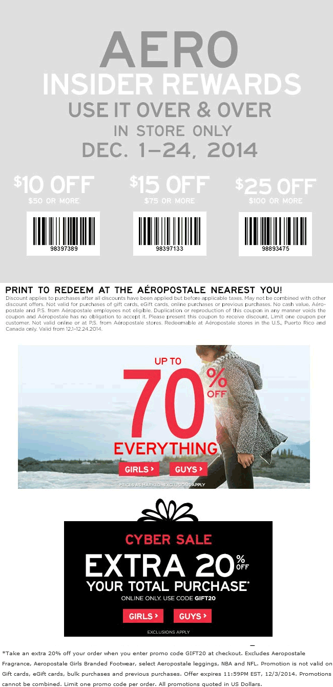 Aeropostale Coupon March 2018 $10 off $50 & more at Aeropostale, or 20% online via promo code GIFT20