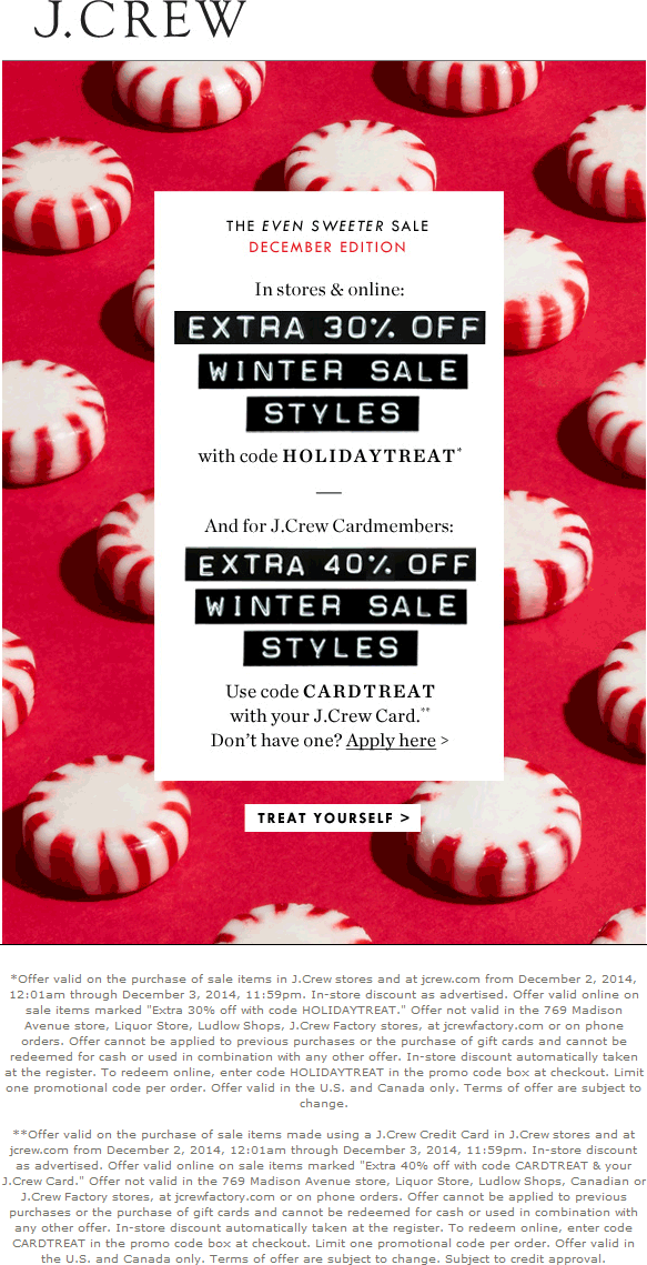 J.Crew Coupon October 2016 Extra 30% off sale items at J.Crew, or online via promo code HOLIDAYTREAT