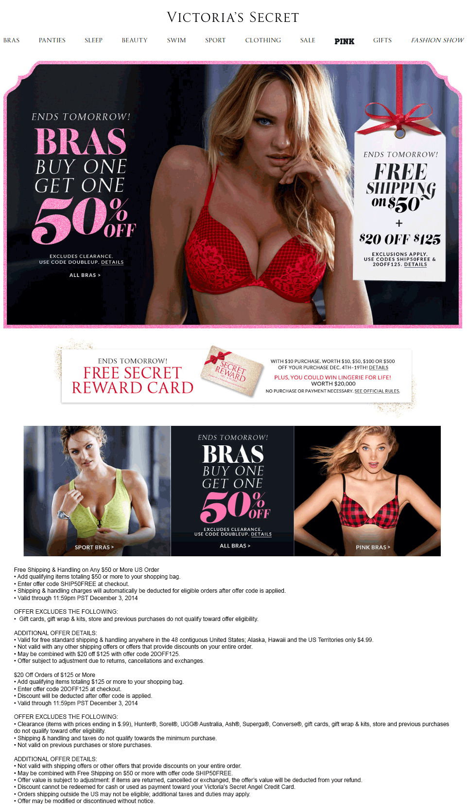 Victorias Secret Coupon April 2017 Second bra 50% off + $20 off $125 online at Victorias Secret via promo code 20OFF125