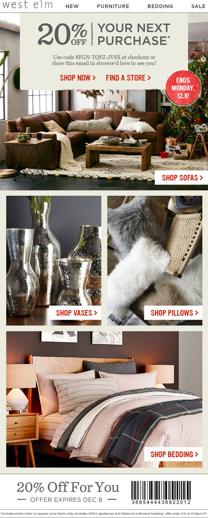 West Elm Coupon April 2019 20% off at West Elm