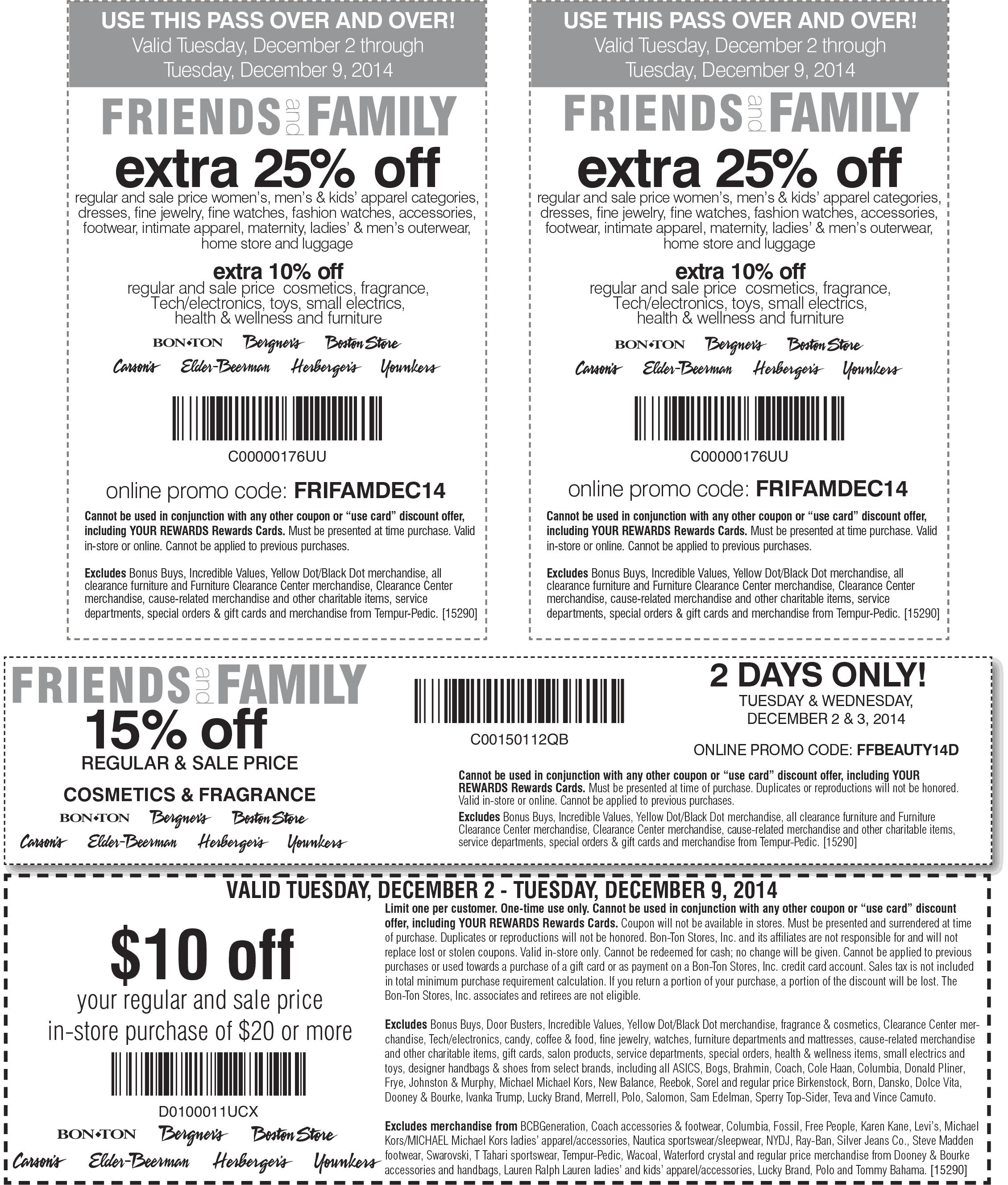 Bon Ton Coupon May 2018 $10 off $20 & more at Carsons, Bon Ton & sister stores, or 25% online via promo code FRIFAMDEC14