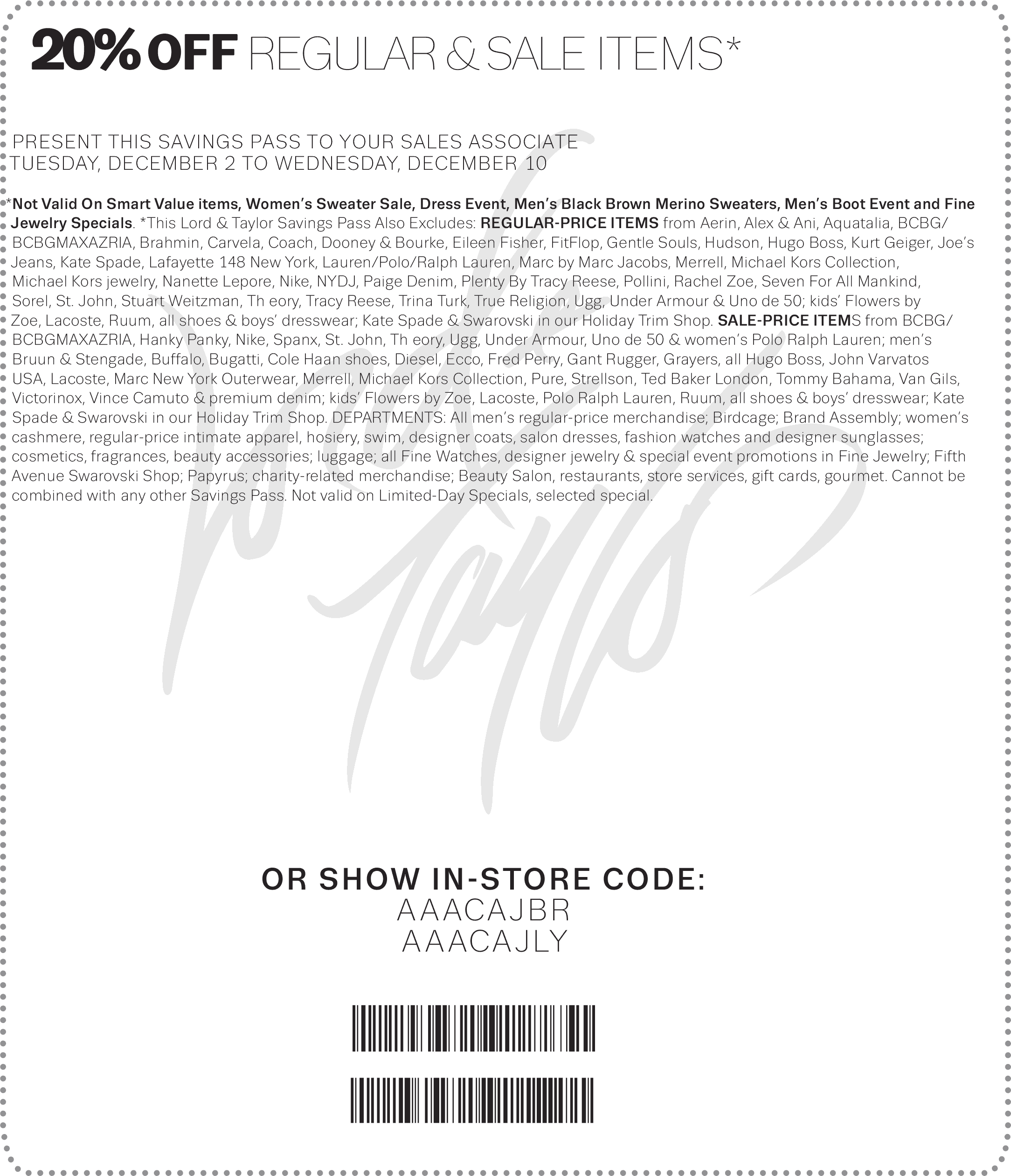Lord & Taylor Coupon January 2018 20% off at Lord & Taylor, or online via promo code READY