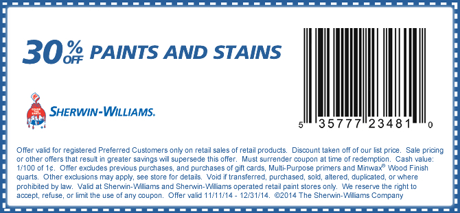 Sherwin Williams Coupon January 2019 30% off paint & stains at Sherwin Williams