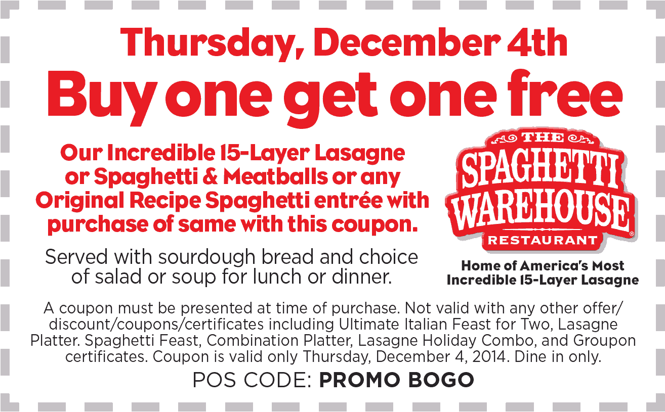 Spaghetti Warehouse Coupon May 2018 Second lasagna or spaghetti meal free Thurs at Spaghetti Warehouse restaurants