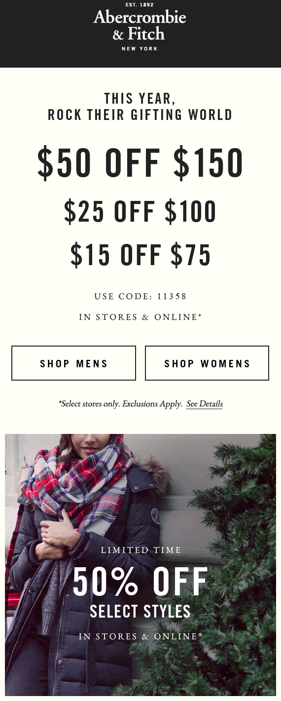 Abercrombie & Fitch Coupon February 2017 $15 off $75 & more at Abercrombie & Fitch, or online via promo code 11358