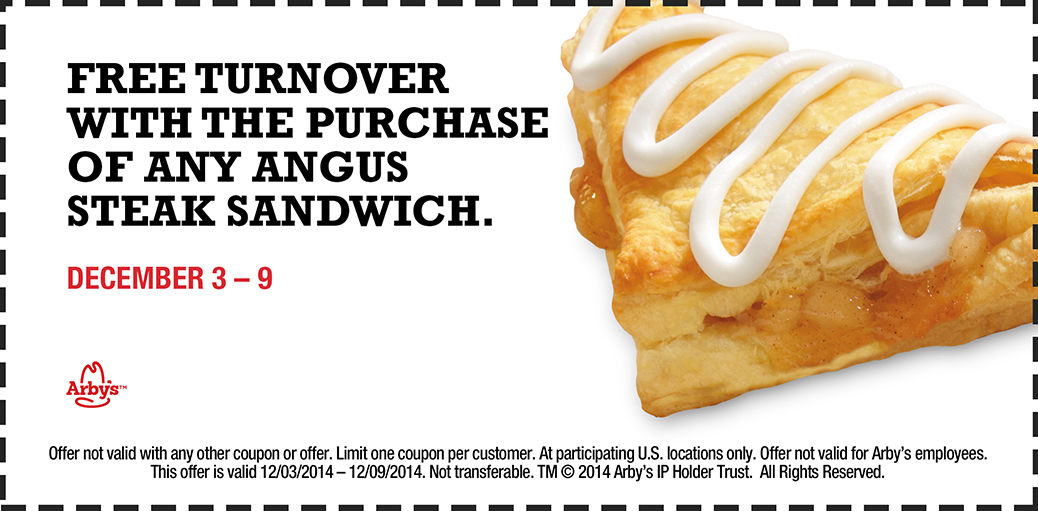 Arbys Coupon April 2017 Free turnover with your steak sandwich at Arbys