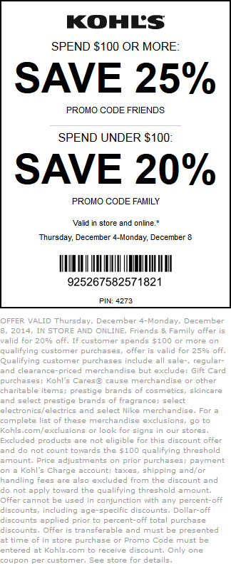 Kohls Coupon February 2017 20-25% off at Kohls, or online via promo code FRIENDS