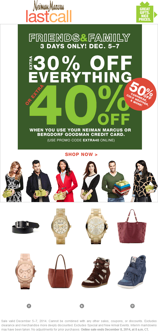 Last Call Coupon April 2017 Extra 30% off everything at Neiman Marcus Last Call, ditto online