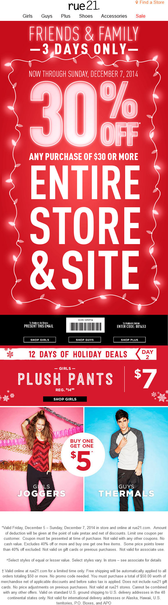 Rue21 Coupon December 2016 30% off $30+ at rue21, or online via promo code 001453
