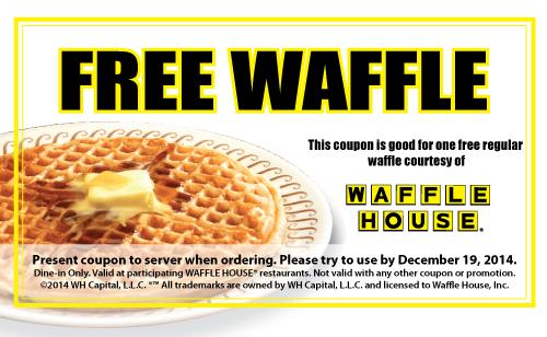 Waffle House Coupon February 2018 Free waffle at Waffle House