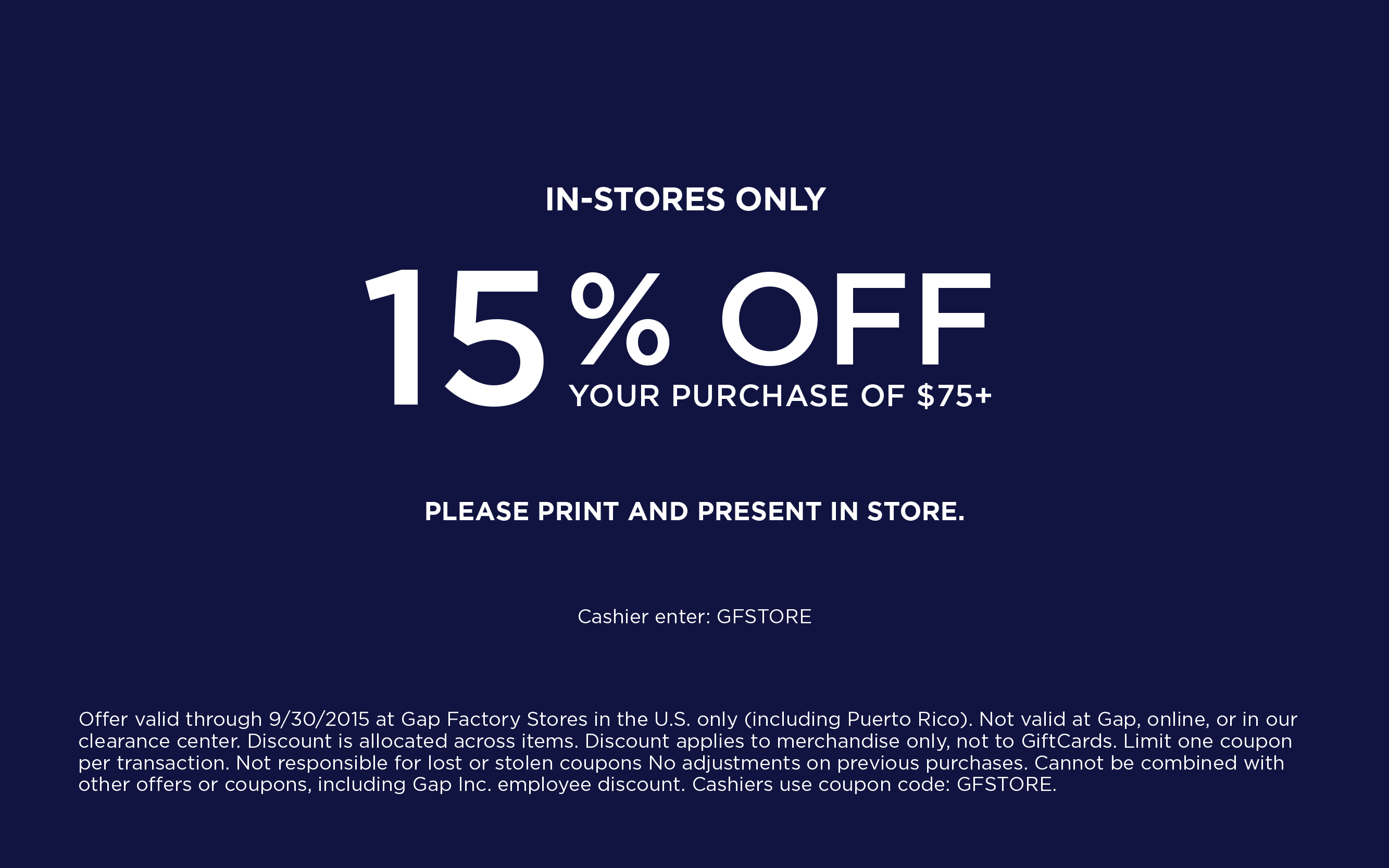 Gap Factory Coupon October 2018 Extra $15 off $75 at Gap Factory locations