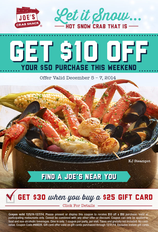 Joes Crab Shack Coupon March 2017 $10 off $50 at Joes Crab Shack restaurants