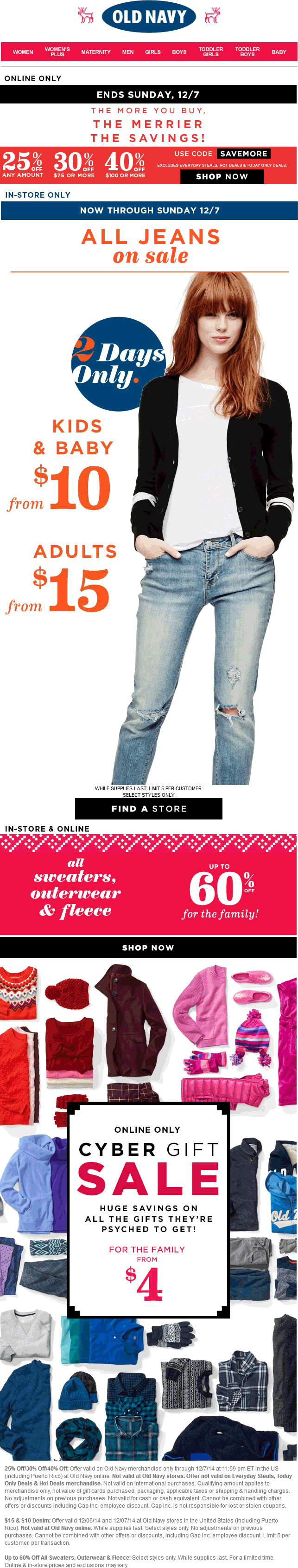 Old Navy Coupon May 2017 25-40% off everything & more online at Old Navy via promo code SAVEMORE