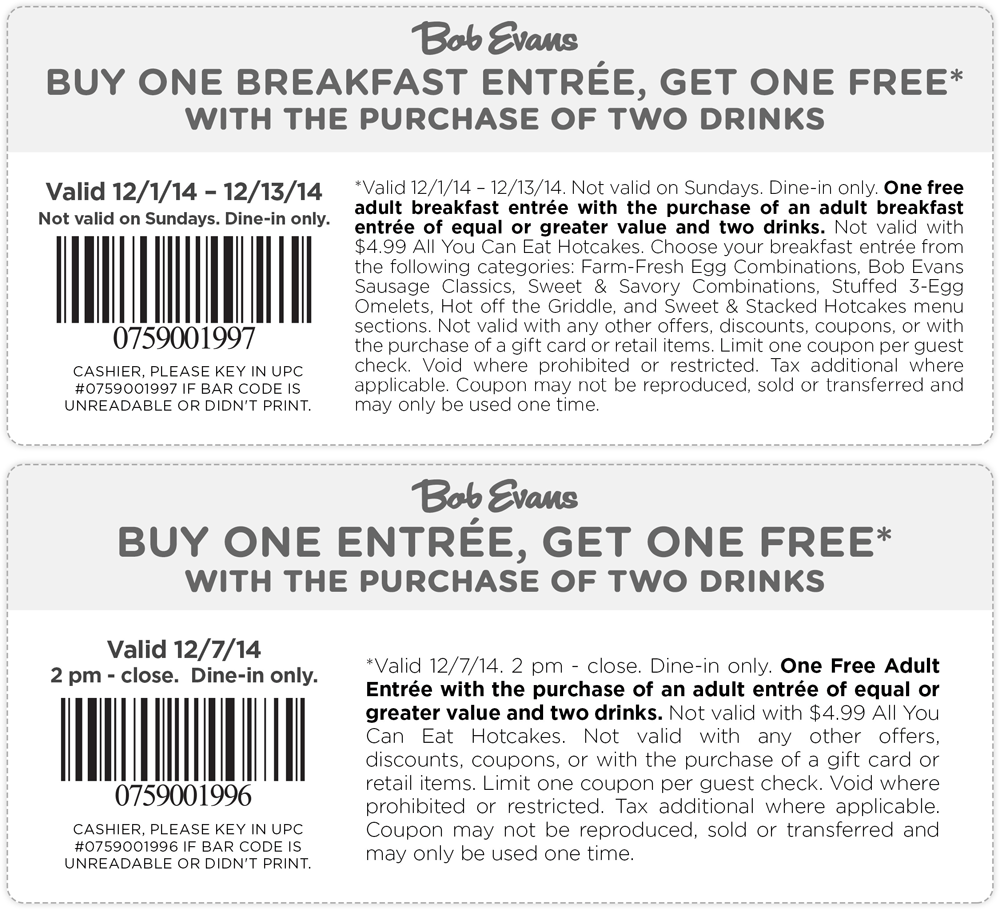 Bob Evans Coupon July 2017 Second entree free today at Bob Evans