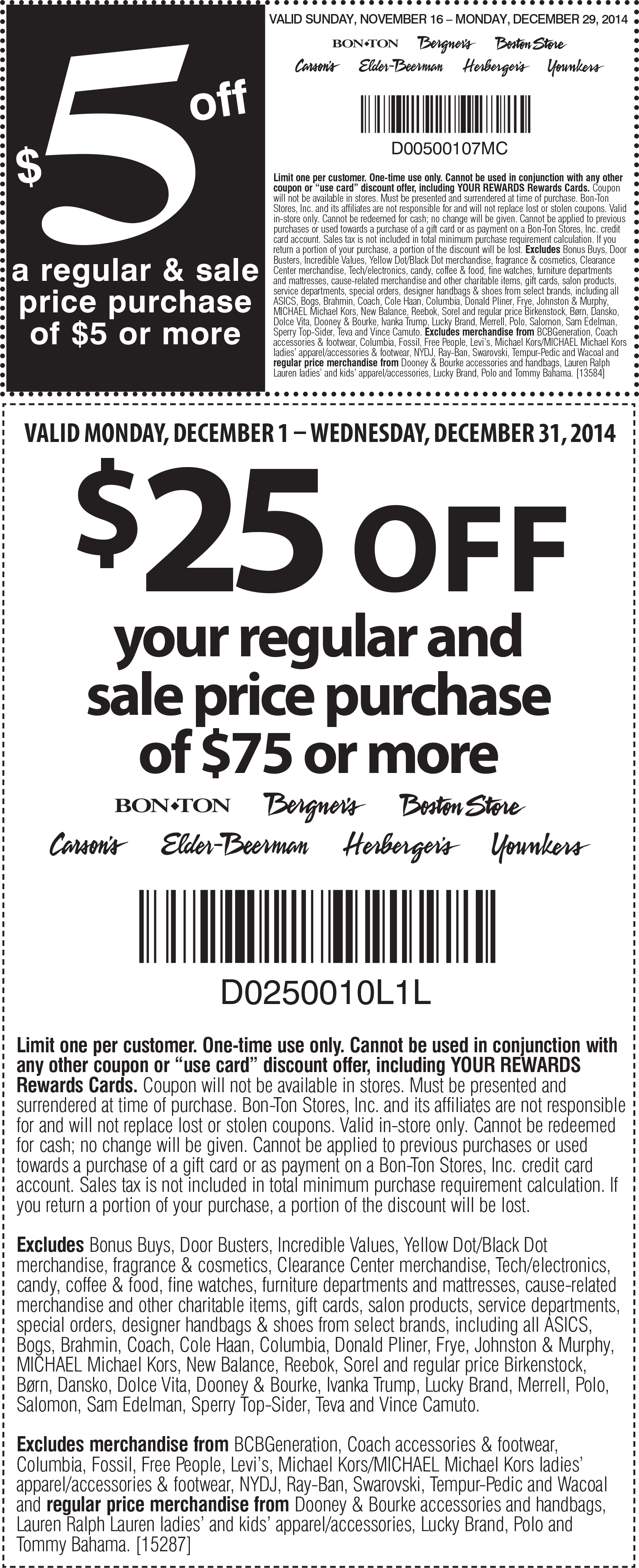 Bon Ton Coupon November 2018 $5 off $5 or $25 off $75 at Carsons, Bon Ton & sister stores