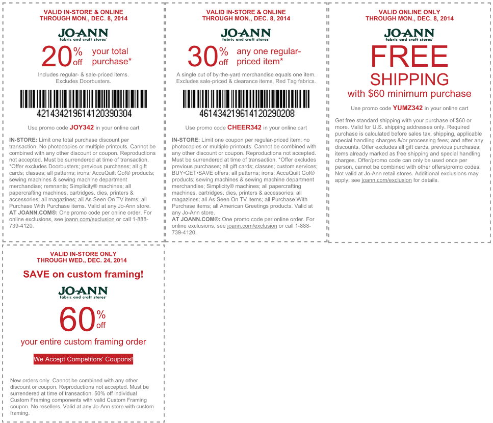 Jo-Ann Coupon November 2018 20% off everything, 30% off a single item at Jo-Ann Fabric, or online via promo code JOY342