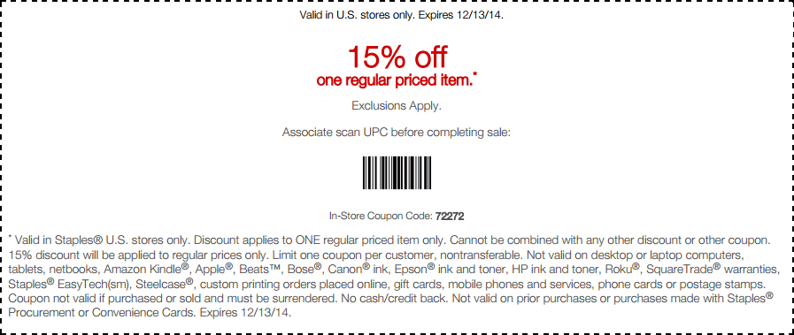 Staples Coupon May 2017 15% off a single item at Staples