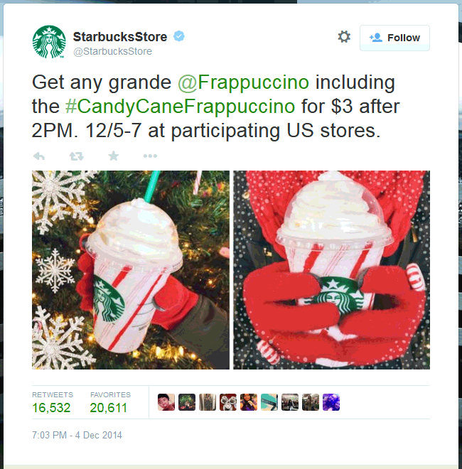 Starbucks Coupon December 2018 Grande frappuccino just $3 today at Starbucks