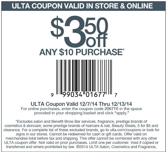 Ulta Coupon March 2019 $3 off $10 at Ulta, or online via promo code 206710