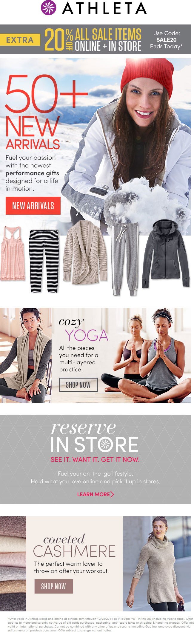 Athleta Coupon November 2018 Extra 20% off sale items today at Athleta, or online via promo code SALE20