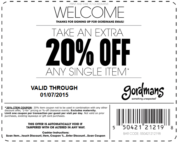 Gordmans Coupon February 2017 Extra 20% off a single item at Gordmans
