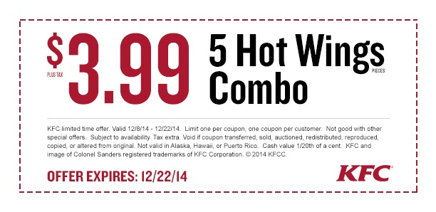 KFC Coupon January 2017 5pc wings meal just $4 bucks at KFC