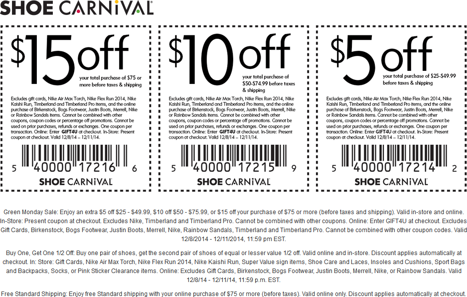 Shoe Carnival Coupon June 2017 $5 off $25 & more at Shoe Carnival, or online via promo code GIFT4U