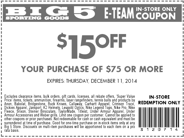 Big 5 Coupon November 2017 $15 off $75 at Big 5 sporting goods