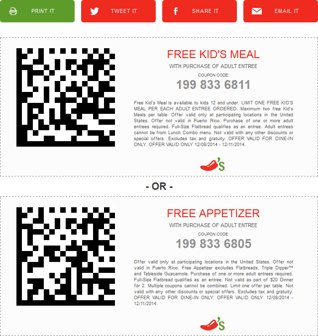 Chilis Coupon March 2017 Free appetizer or kids meal with yours at Chilis