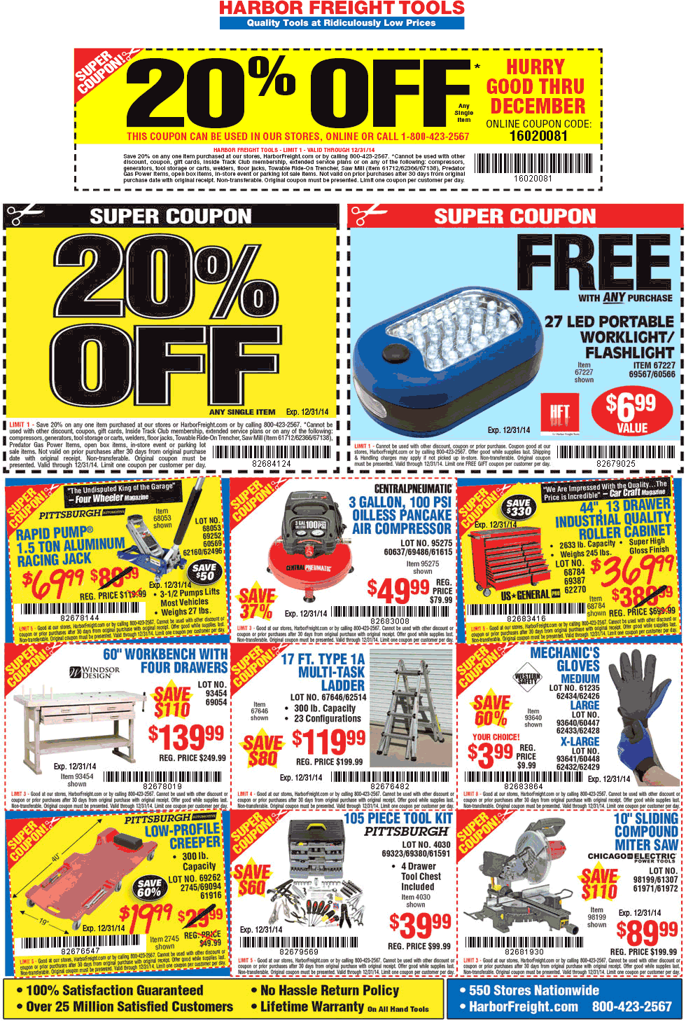 Harbor Freight Coupon August 2019 20% off a single item & more at Harbor Freight Tools, or online via promo code 16020081