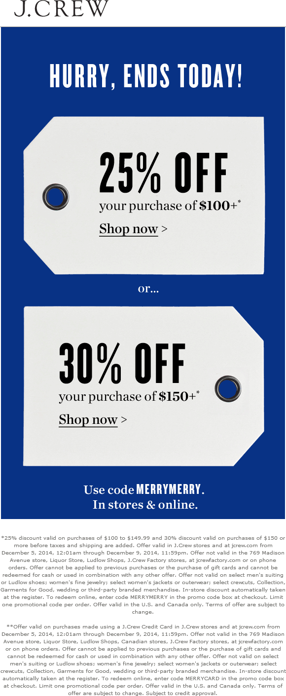 J.Crew Coupon June 2018 25% off $100 & more today at J.Crew, or online via promo code MERRYMERRY