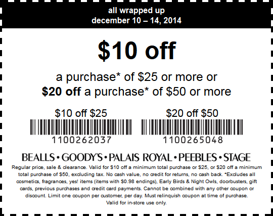 Bealls Coupon May 2017 $10 off $25 & more at Bealls, Goodys, Peebles & Stage, or 30% online via promo code 30247