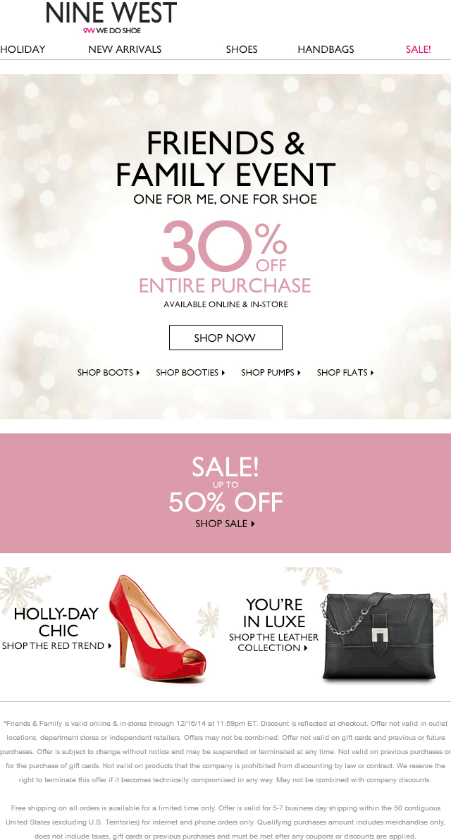 Nine West Coupon November 2018 30% off at Nine West, ditto online