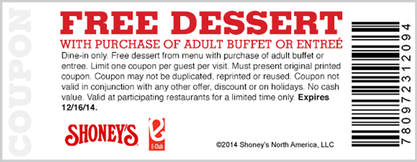 Shoneys Coupon February 2017 Free dessert with your entree or buffet at Shoneys