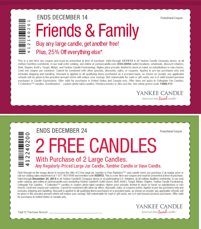 Yankee Candle Coupon February 2017 Second pair of large candles free at Yankee Candle, or online via promo code SCENT2